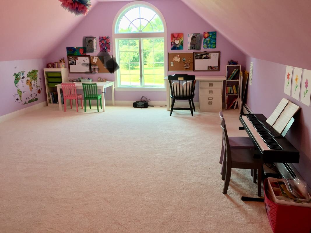 After playroom with lots of space and no toys on floor