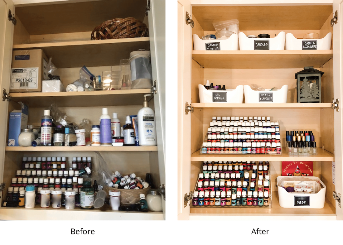 Before and after essential oils organization