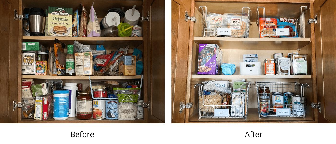 Before and after kitchen pantry food cabinet