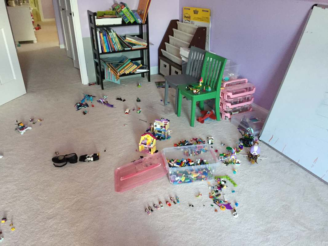 Playroom with legos all over