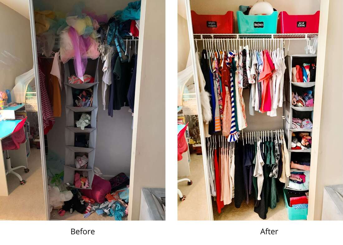 Before and after girl's closet with added clothing rod and labeled bins