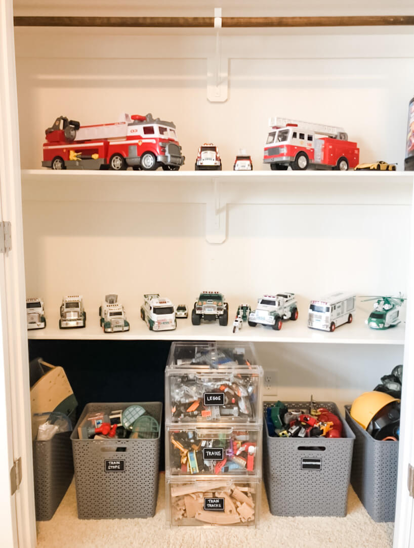 playroom storage and toy trucks